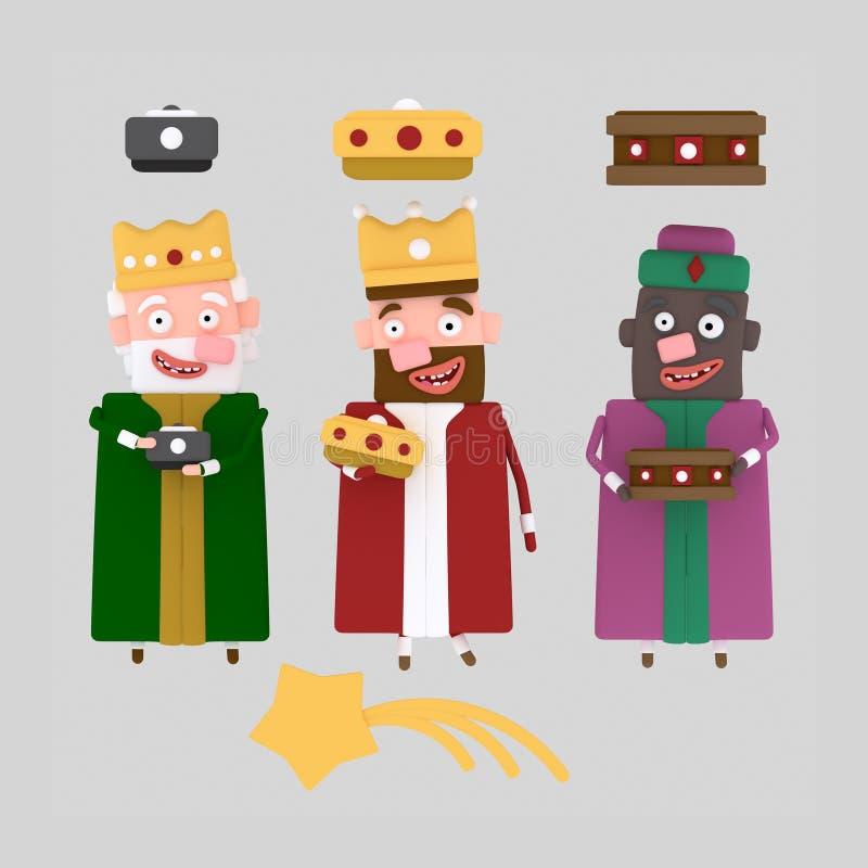 Avskild magisk konung tre 3d royaltyfri illustrationer