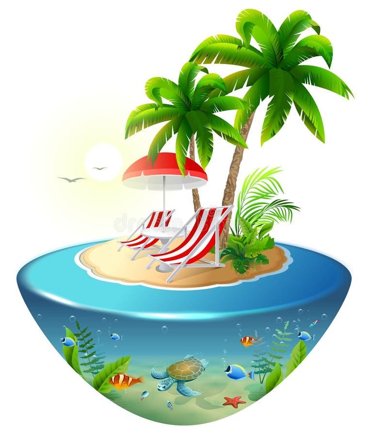 Avskild semester på den tropiska ön Vardagsrum för två chaise, palmträd och undervattens- värld stock illustrationer