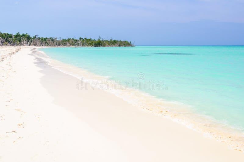 Avskild vit sandstrand i den Cayo Levisa ön i Kuba royaltyfria bilder