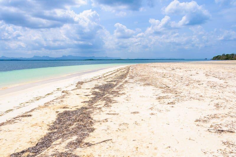 Avskild vit sandstrand i den Cayo Levisa ön i Kuba fotografering för bildbyråer