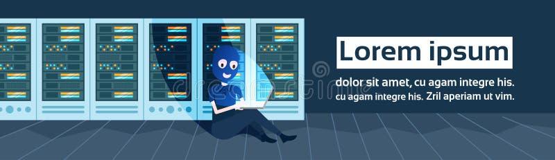 Avskildhet för data för attack för en hacker för flickasvartmaskering över mitt för datalagring med varande värd serveror och per vektor illustrationer