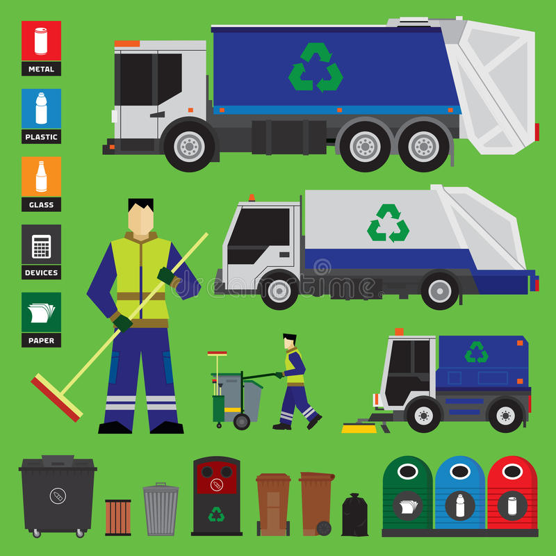 Avskrädeåtervinning vektor illustrationer