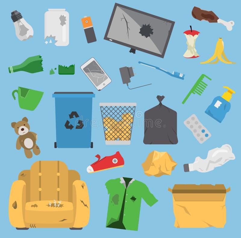 Avskräde för bransch för ekologi för ledning för gummihjul för påsar för avfall för beståndsdelar för avfall för återvinningavskr vektor illustrationer