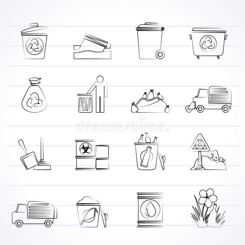 Avskräde och rackar ner på symboler stock illustrationer