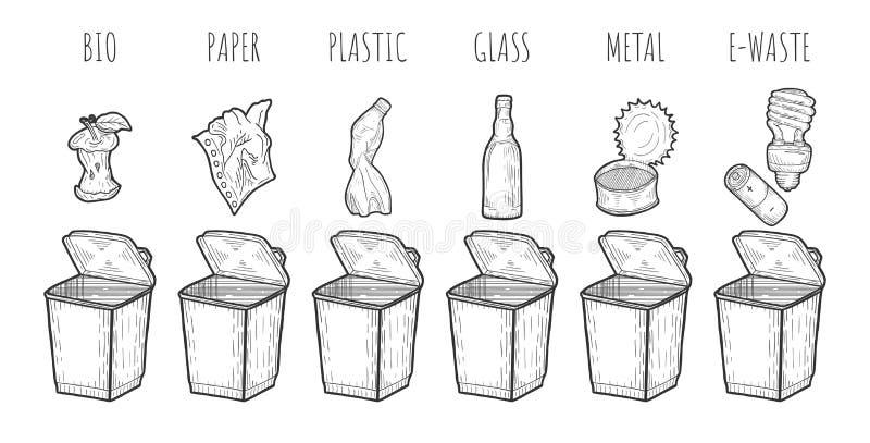 Avskräde som sorterar process royaltyfri illustrationer