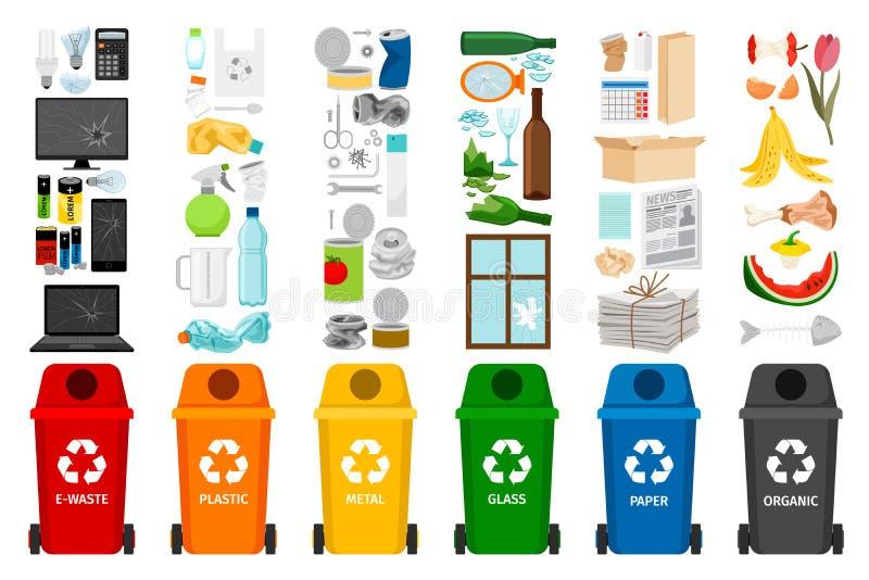 Avskrädebehållare och typer av avfall vektor illustrationer