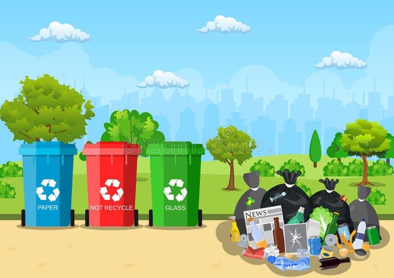 Avskrädeförrådsplatsen parkerar in stock illustrationer