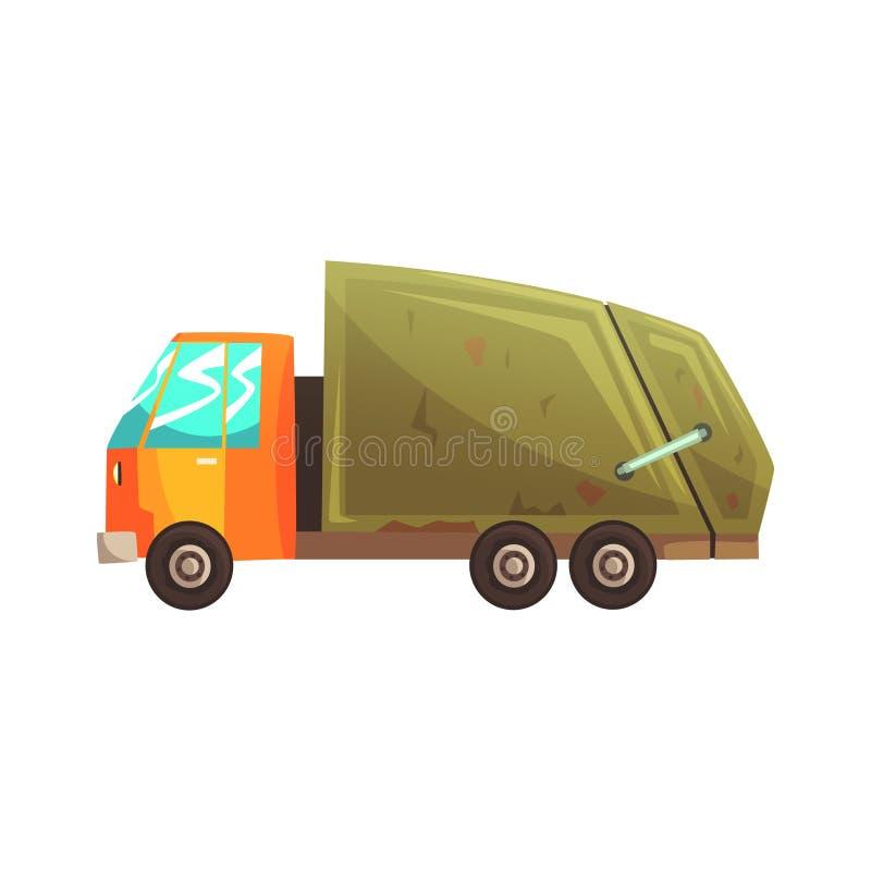 Avskrädelastbil, förlorad återvinning och illustration för utnyttjandetecknad filmvektor vektor illustrationer