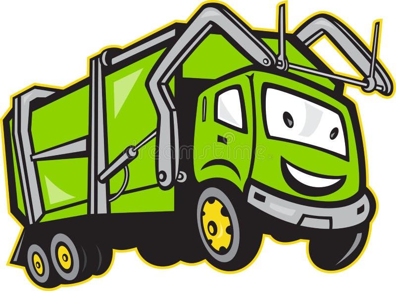 Avskrädet rackar ner på åker lastbil tecknad film royaltyfri illustrationer
