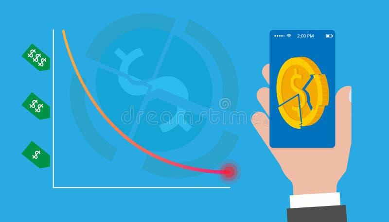 avskrivning Prisnedgångarna Fälla ned diagrammet till den kritiska punkten Kollapsen av säkerheter I mobilen app vektor illustrationer
