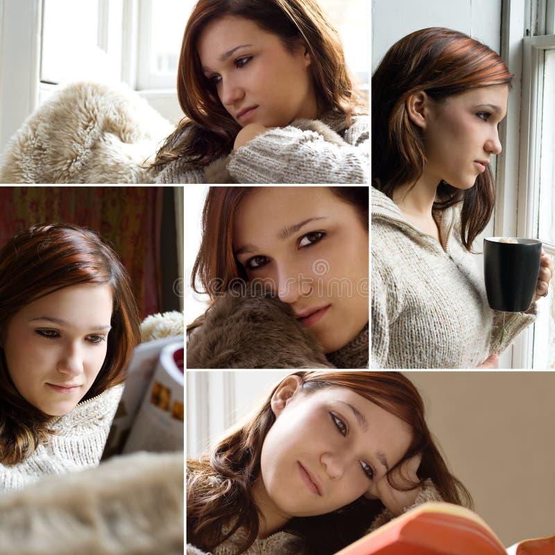 avslappnande kvinna för bokdrinktidskrift royaltyfri bild