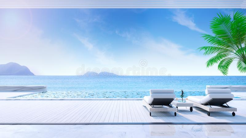 Avslappnande sommar, daybeds på att solbada däcket och den privata simbassängen med den near stranden och panorama- havssikt på d stock illustrationer