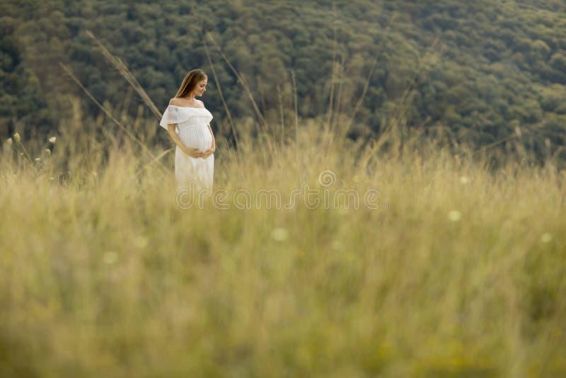 Avslappnande yttersida f?r ung gravid kvinna i natur royaltyfri fotografi