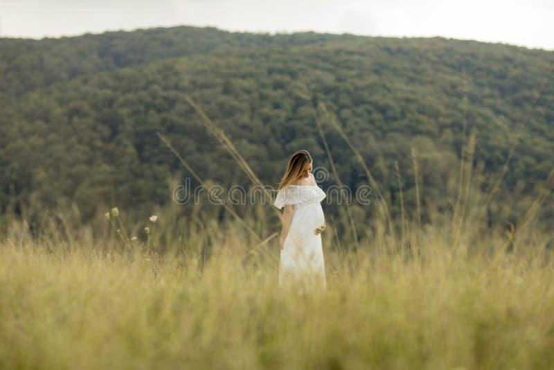 Avslappnande yttersida f?r ung gravid kvinna i natur royaltyfri foto