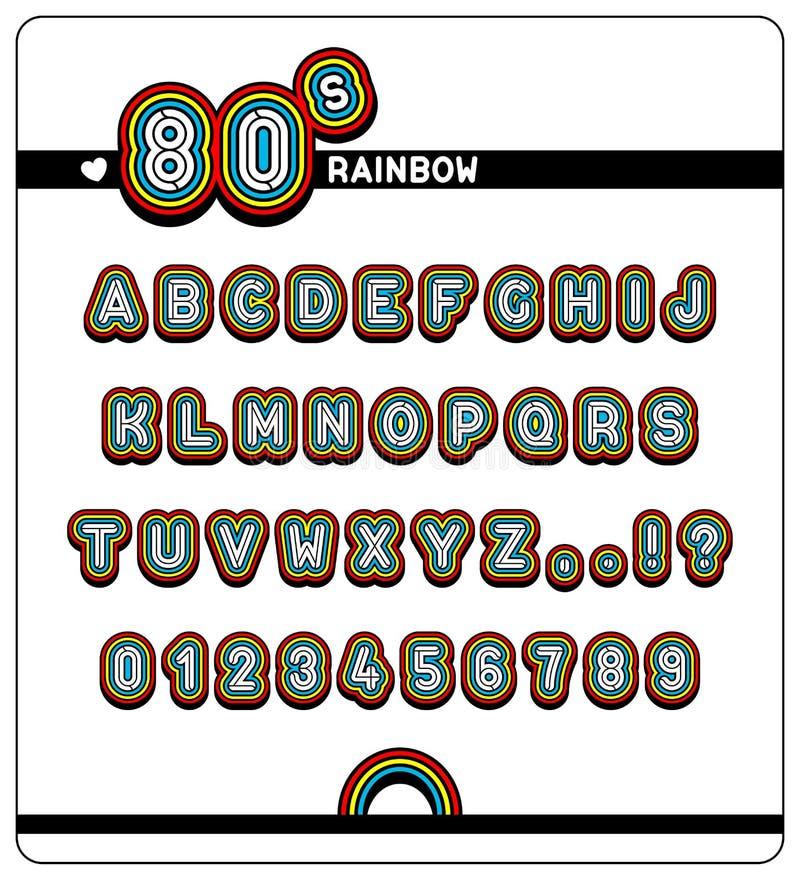 Avsluta alfabetet och nummer i 80-talregnbågestilsort royaltyfri illustrationer