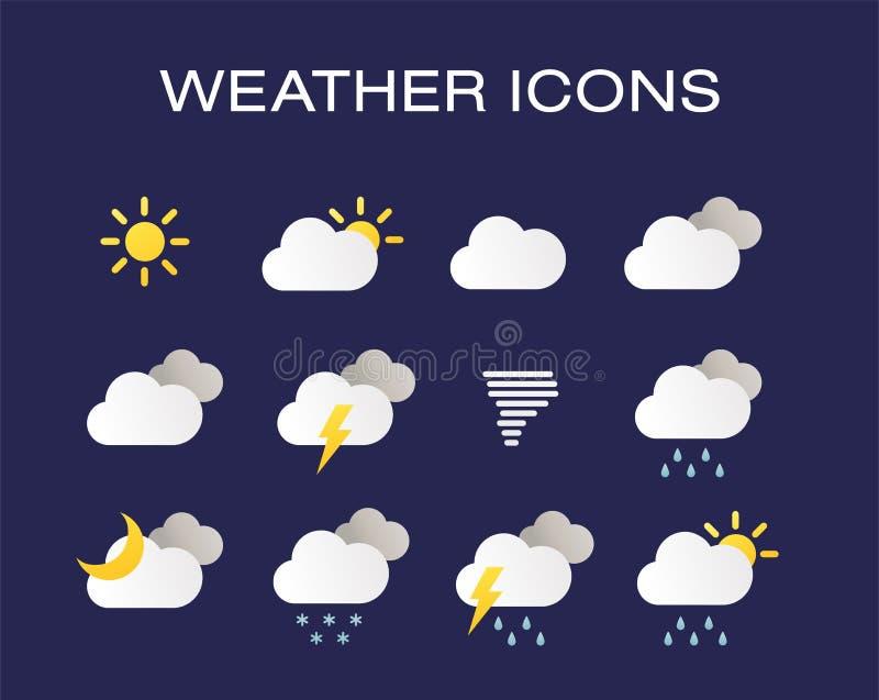 Avsluta uppsättningen av moderna realistiska vädersymboler Modern vädersymbolsuppsättning Plana vektorsymboler på mörk bakgrund royaltyfri illustrationer