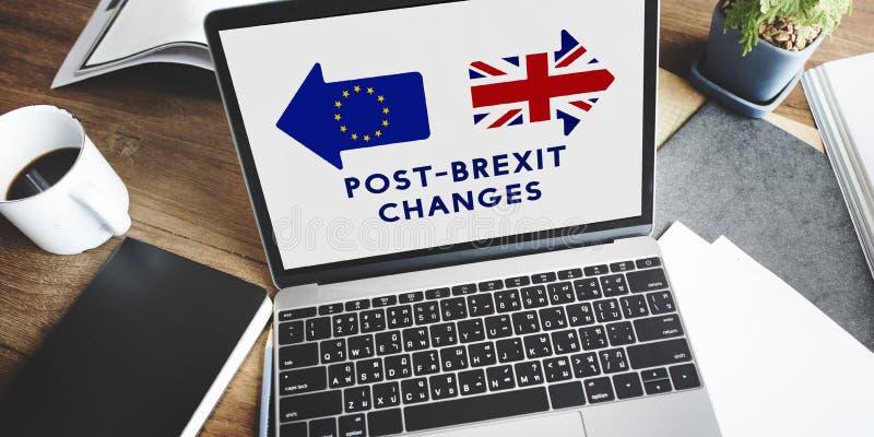 Avslutade europeisk union för Brexit Britannien tjänstledigheter folkomröstningbegrepp arkivbilder
