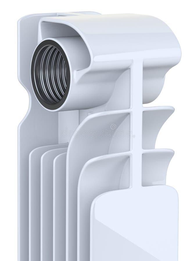 Avsnitt för aluminiumuppvärmningelement - närbildsikt royaltyfri illustrationer
