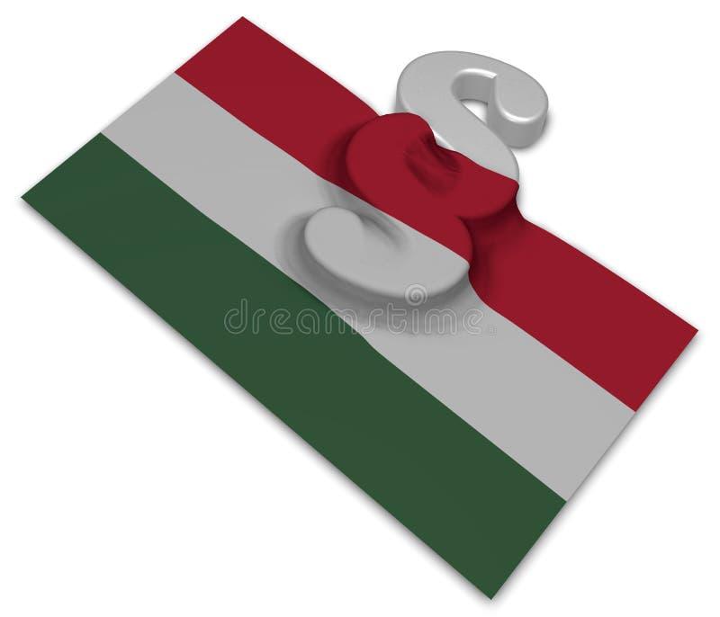 Avsnittsymbol och flagga av Ungern vektor illustrationer