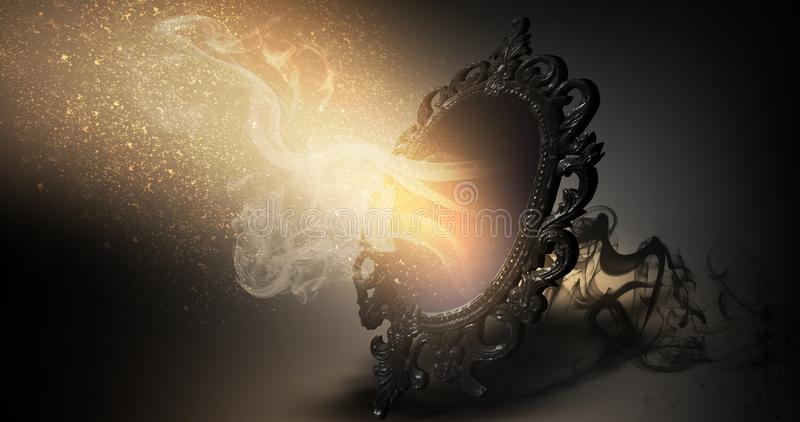 Avspegla magisk, för förmögenhet berätta och uppfyllelse av lust vektor illustrationer