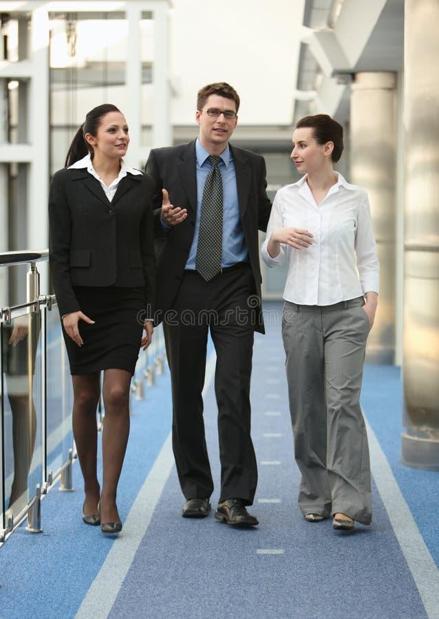 avstånd för gruppkontorspersoner som talar tre w royaltyfri fotografi