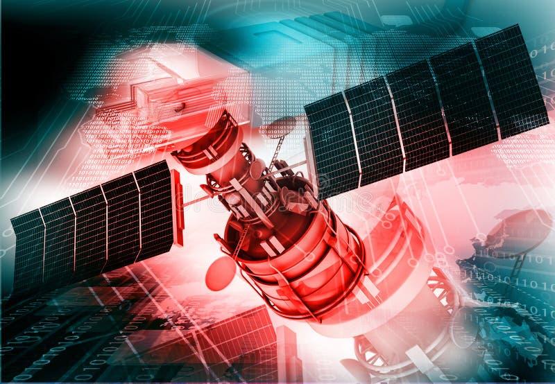 avstånd för kommunikationskommunikationssatellit royaltyfri illustrationer