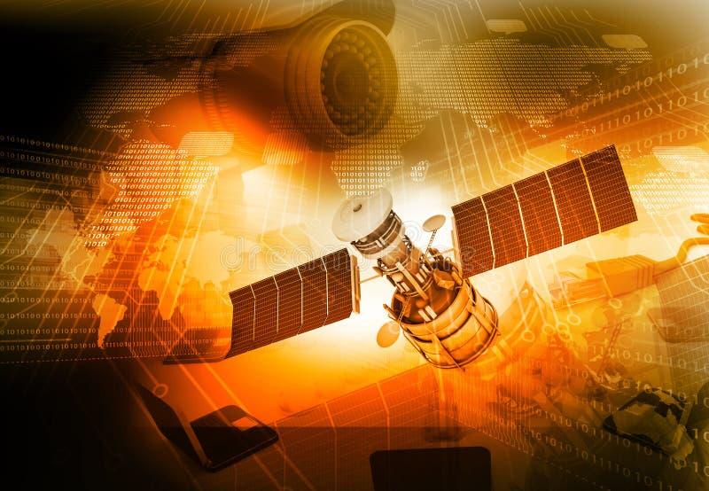 avstånd för kommunikationskommunikationssatellit vektor illustrationer