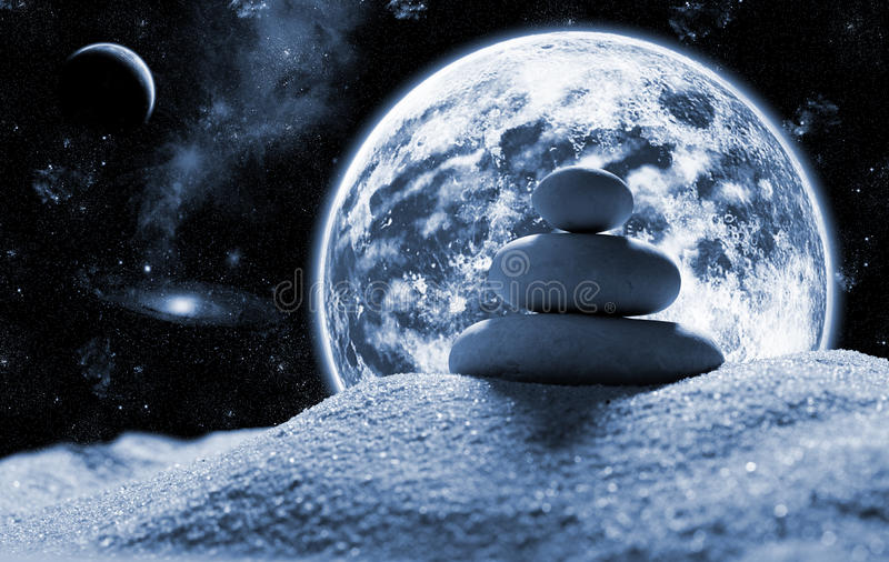 avstånd stenar zen arkivbild