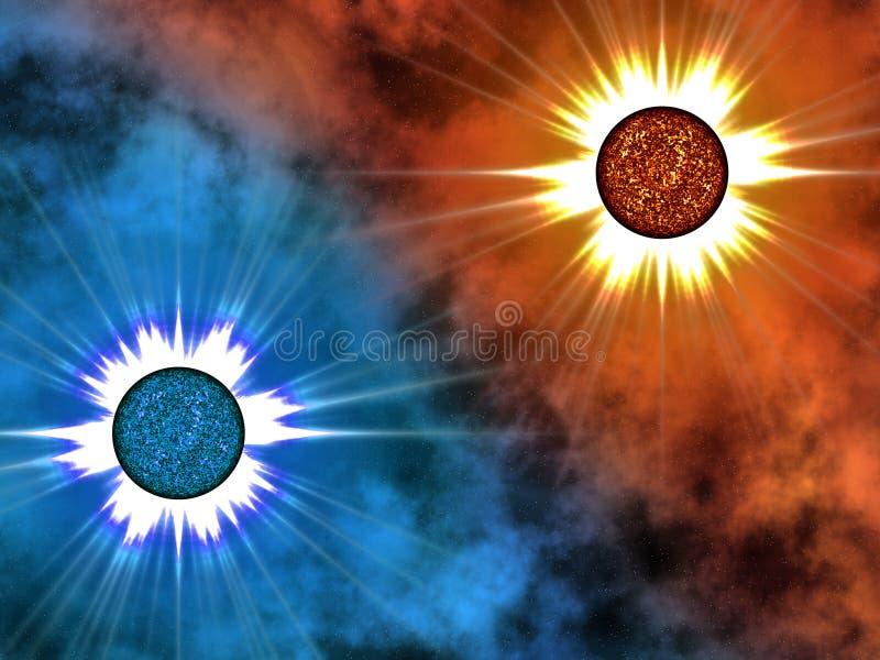 avståndsstjärna två vektor illustrationer