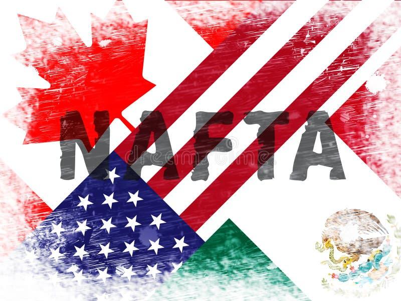Avtal för trumfNafta-förhandling med Kanada och Mexico - 2d illustration vektor illustrationer