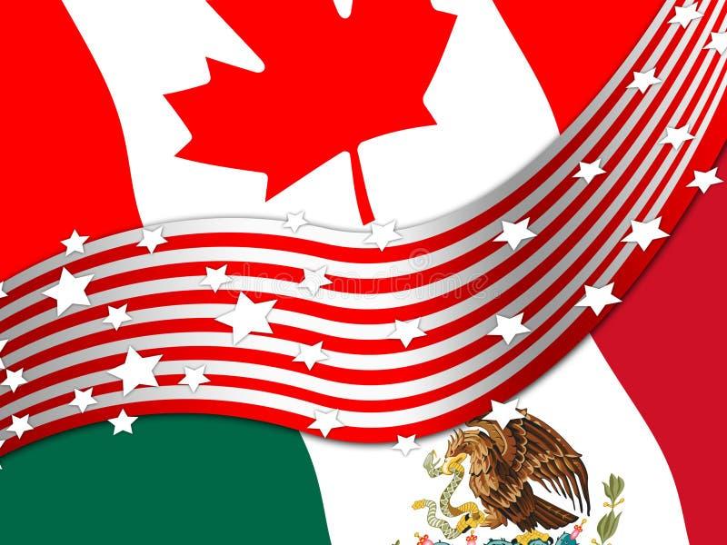 Avtal för trumfNafta-förhandling med Kanada och Mexico - 2d illustration stock illustrationer