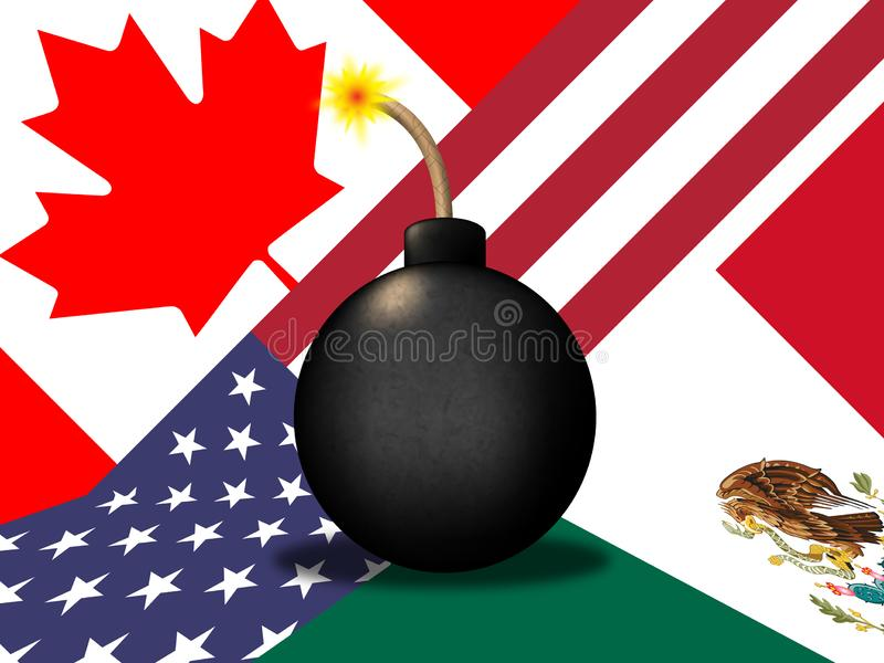 Avtal för trumfNafta-förhandling med Kanada och Mexico - illustration 3d vektor illustrationer