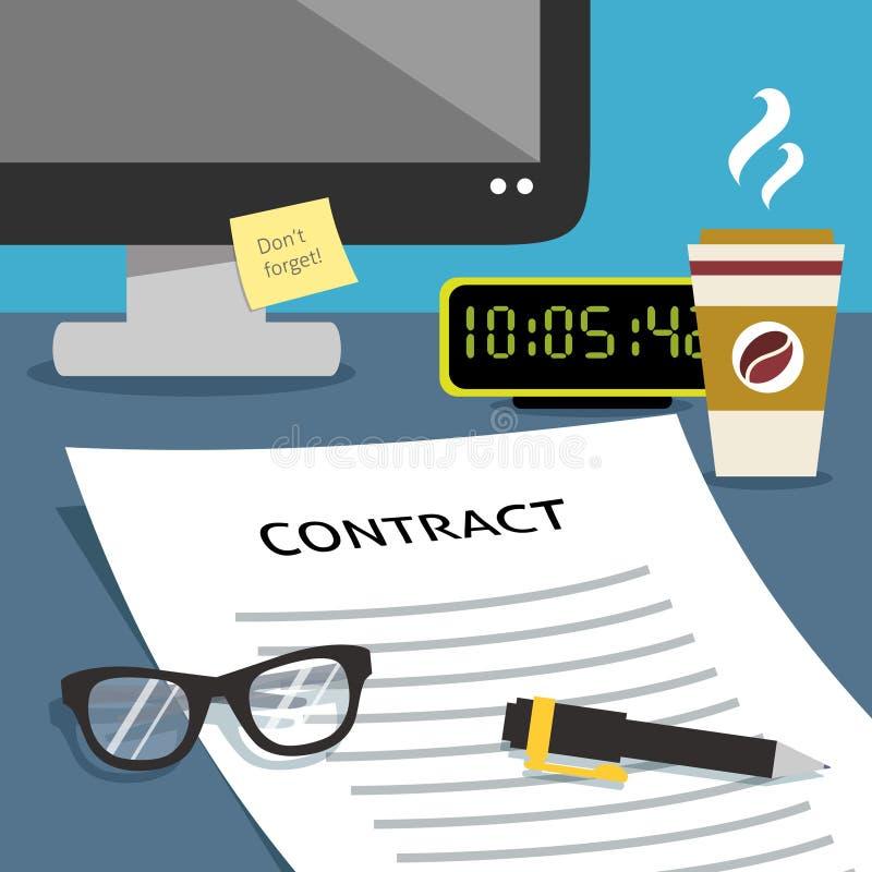 Avtal på kontorsskrivbordet stock illustrationer