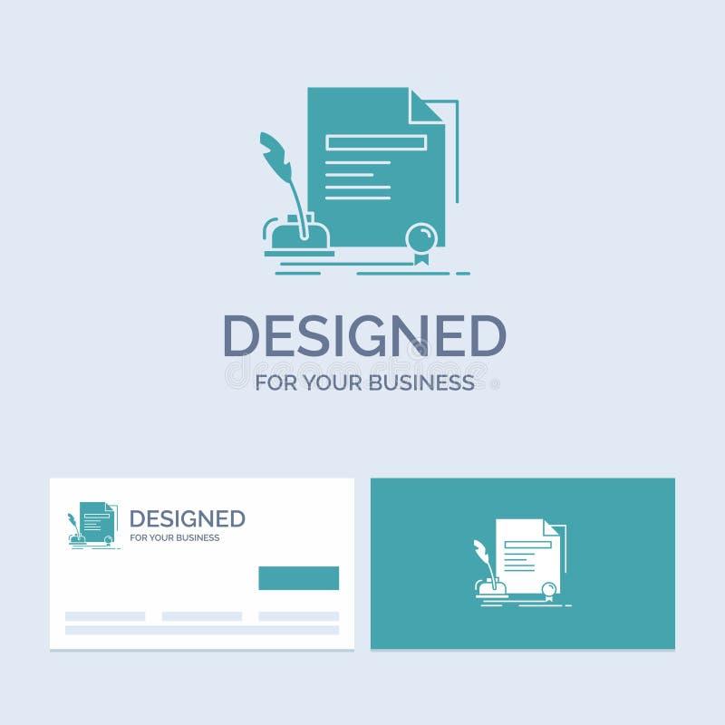 avtal papper, dokument, överenskommelse, utmärkelseaffär Logo Glyph Icon Symbol för din affär Turkosaff?rskort med m?rke stock illustrationer