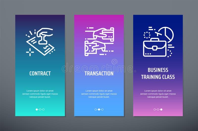 Avtal transaktion, vertikala kort för affärsutbildningsgrupp med starka metaforer stock illustrationer