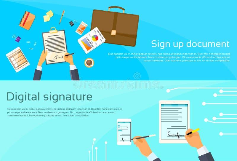 Avtalet undertecknar upp affärsmannen för det pappers- dokumentet stock illustrationer