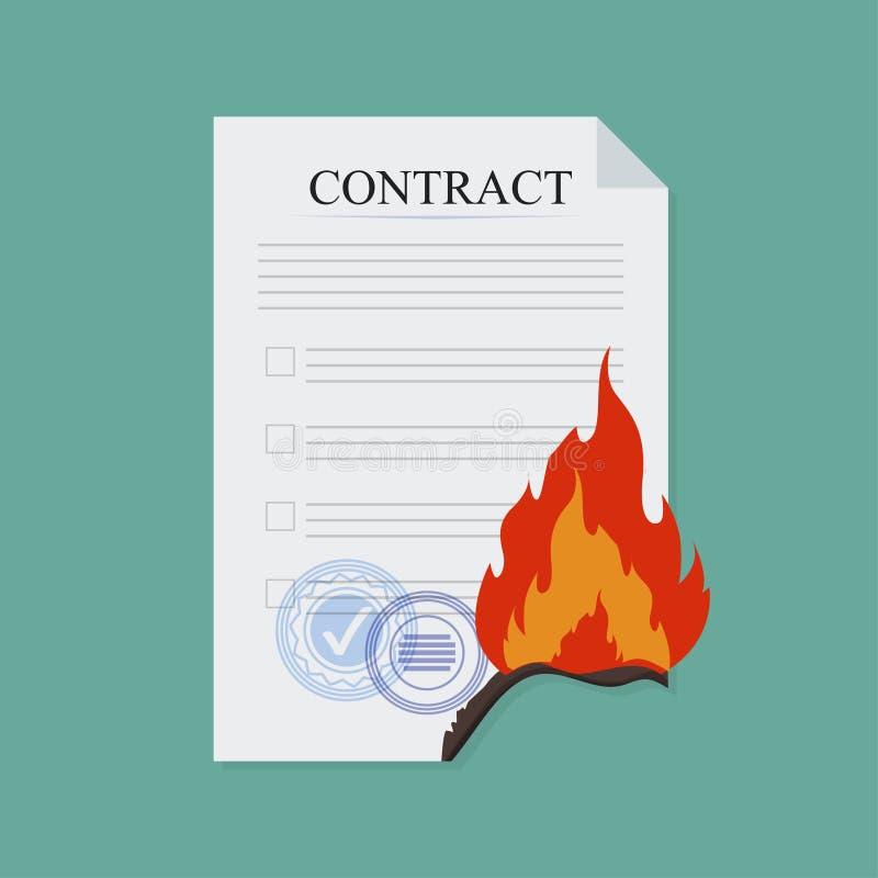 Avtalsavbrottsbrand, i plan stil, affärsidé, vektor stock illustrationer