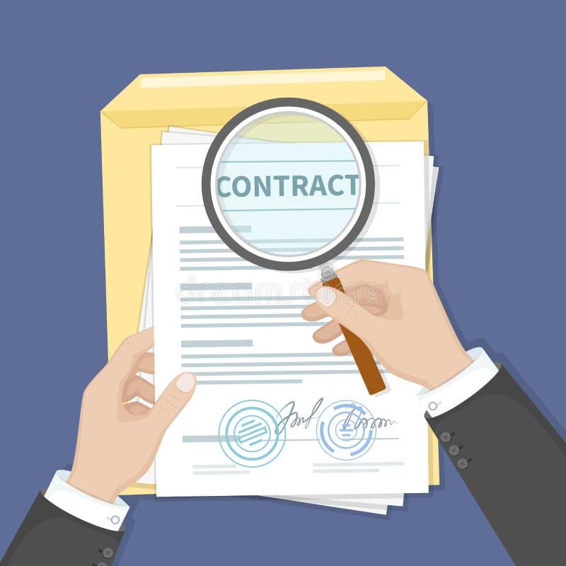Avtalskontrollbegrepp Händer som rymmer förstoringsglaset över ett avtal Avtal med häften och skyddsremsor Forskningdokument stock illustrationer
