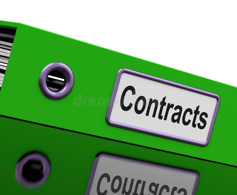 Avtalsmappen visar lagliga affärsöverenskommelser stock illustrationer