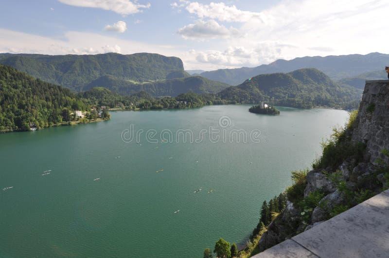 Avtappad Lake, Slovenien arkivfoto