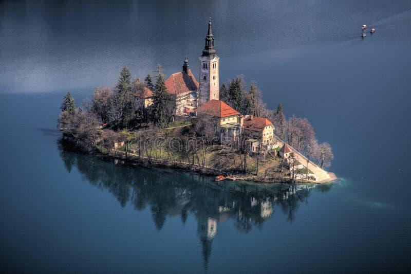 Avtappad Lake, Slovenien royaltyfri fotografi