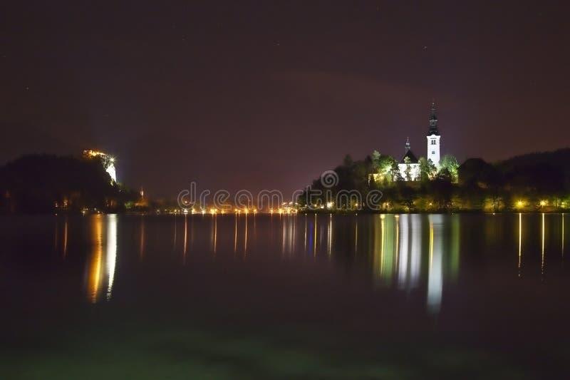 avtappad lakenattpanorama slovenia arkivbild