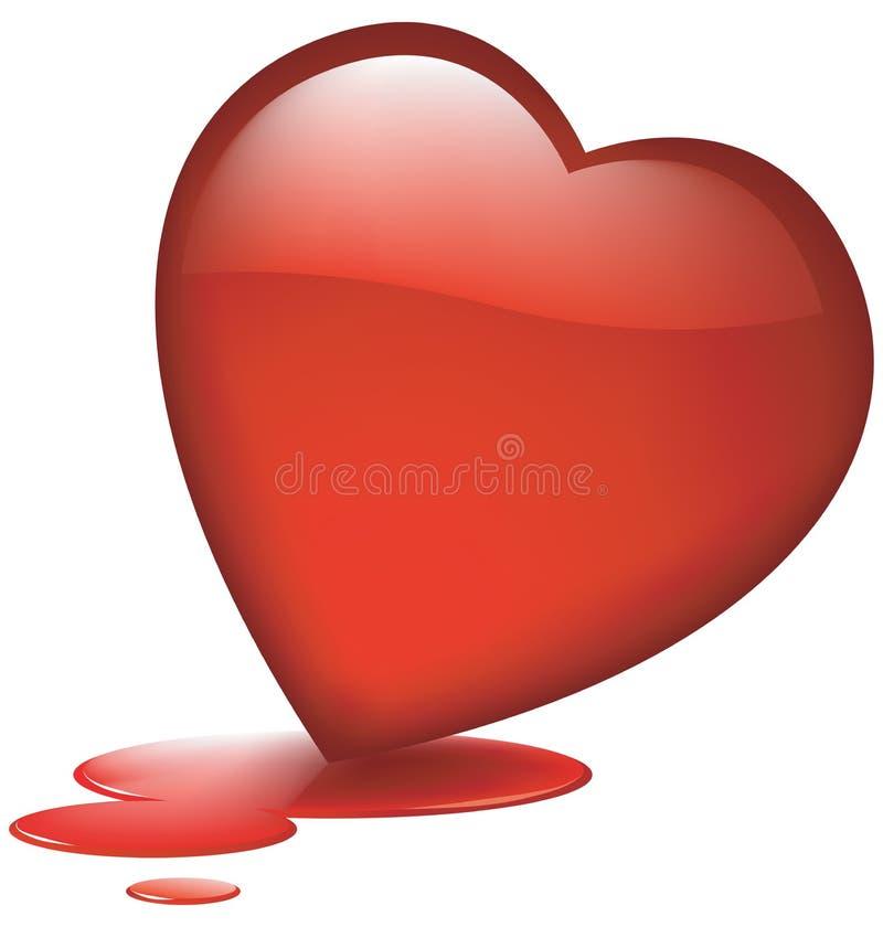 avtappande glas- hjärta royaltyfri illustrationer