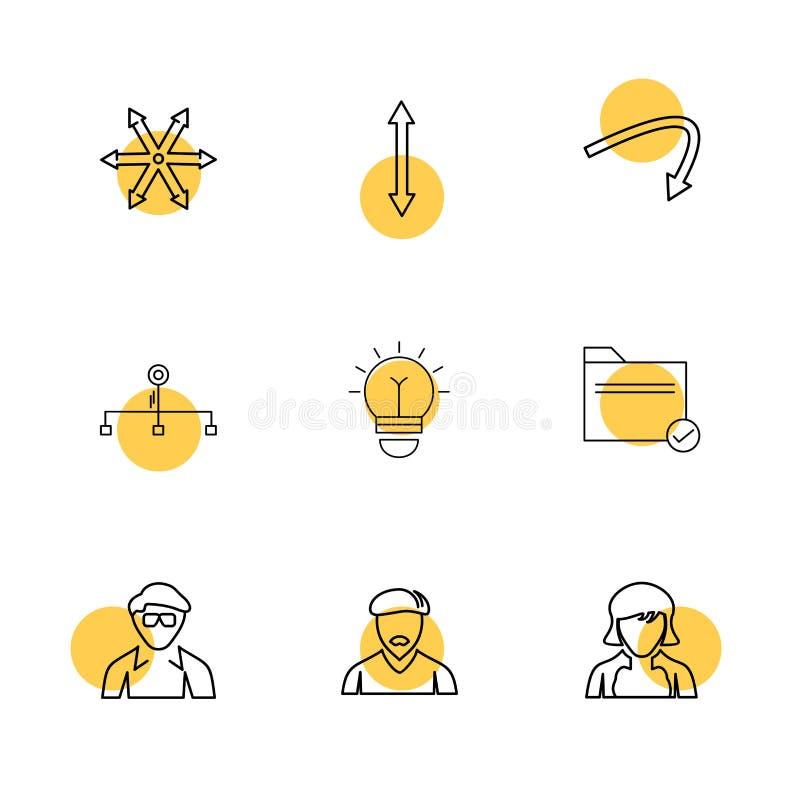 avtar,电灯泡,文件夹,箭头,方向,具体化,下载, 库存例证