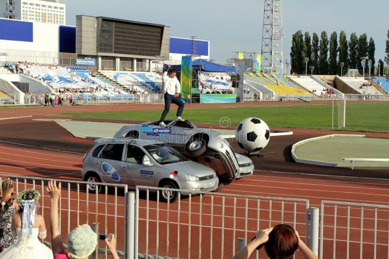 Avtorodeo。汽车的LADA Kalina AvtoVAZ把戏 库存图片