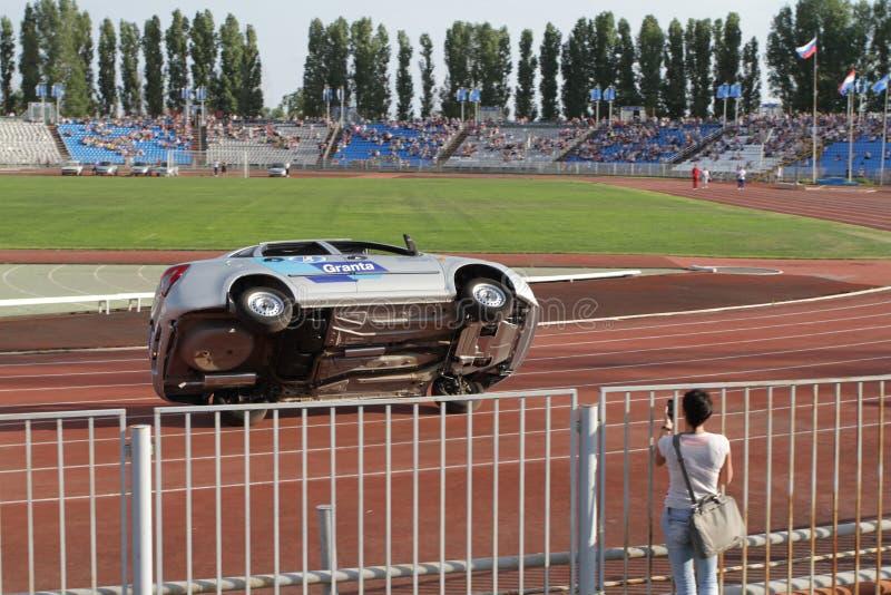 Avtorodeo. Το τέχνασμα για τα αυτοκίνητα LADA Granta AvtoVAZ στοκ φωτογραφία με δικαίωμα ελεύθερης χρήσης