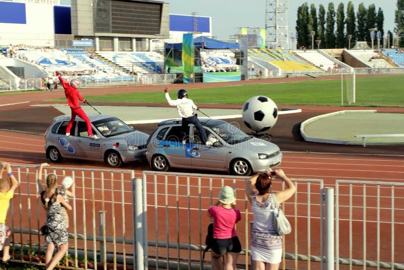 Avtorodeo .The trick for cars LADA Kalina AvtoVAZ royalty free stock images