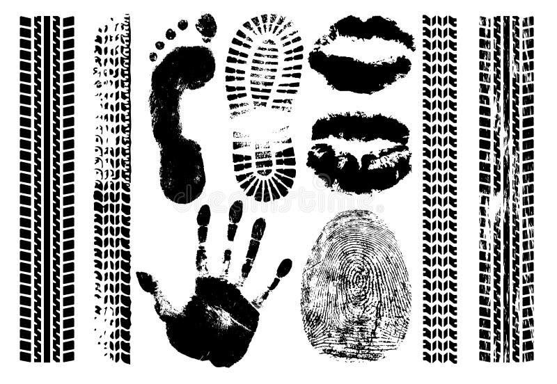 Avtryckuppsättningtecken Handprint fotspår, fingeravtryck, tryck av kanterna, gummihjulspår Isolerad konturvektor royaltyfri illustrationer
