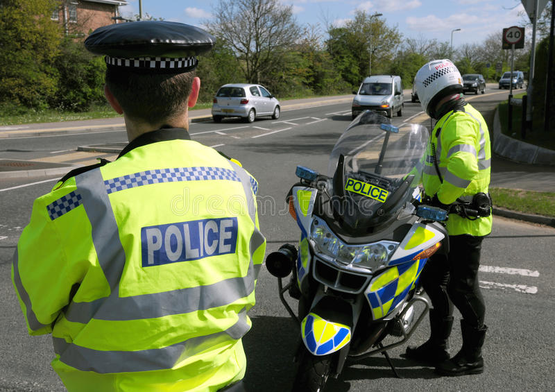 Avvenimento della polizia. Strada chiusa. fotografie stock