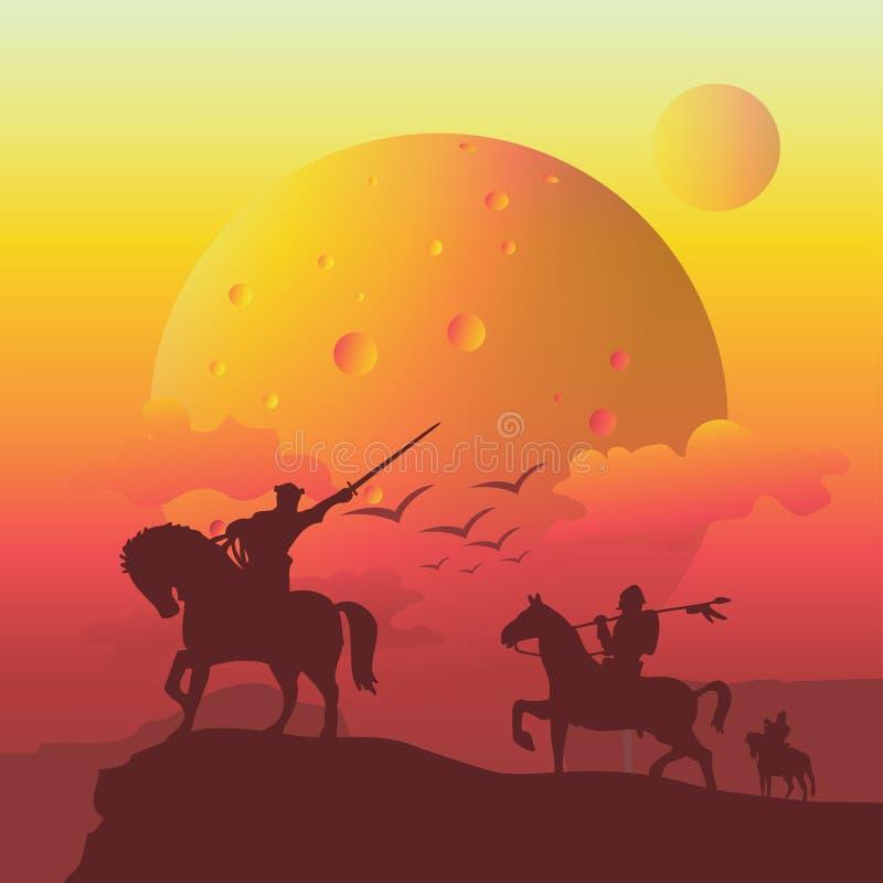 avventura del cavallo da equitazione dei soldati sulla scogliera illustrazione di stock